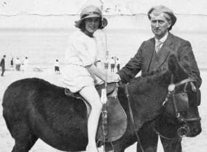 Margaret with her father Arthur at Llandudno - about 1930
